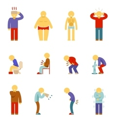 Sick people icons Symptoms of disease pictograms vector image
