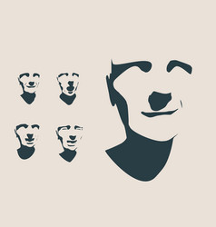silhouettes collection of a humans head vector image vector image