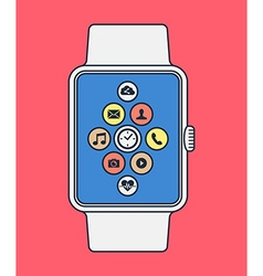 Smart watch design in line art style with app icon vector