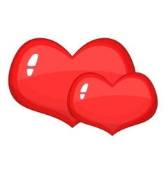 Two red hearts icon cartoon style vector