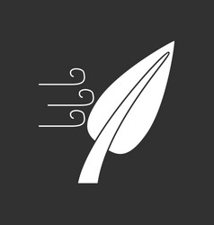 White icon on black background leaf and wind vector