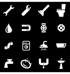 white plumbing icon set vector image vector image