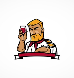 Wine maker cartoon character vector