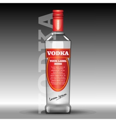Red vodka bottle mockup with your label vector