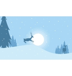 One reindeer on the hill christmas landscape vector