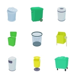 Rubbish bin icons set cartoon style vector