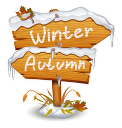 Winter wooden arrow icon vector
