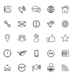 contact us line icons on white background vector image