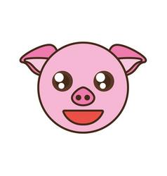 cute pig face kawaii style vector image