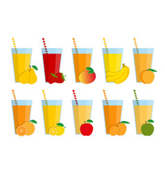 Set of fresh fruit juices and cocktails vector