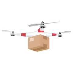 Delivery drone with the package isolated on white vector