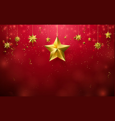 christmas stars ornament hanging on red background vector image