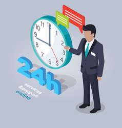 24 hours service and support online with assistant vector image vector image