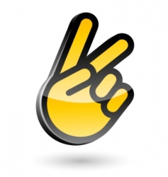 Victory sign gesture vector