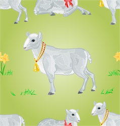 Easter lamb and daffodil seamless texture vector