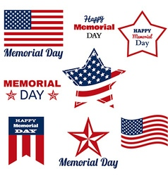 Happy memorial day patriotic american flag vector