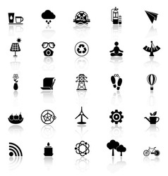 Clean concept icons with reflect on white vector