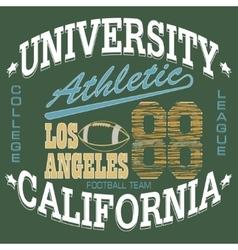 Football t-shirt graphics california sportswear vector