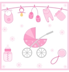 Baby shower objects vector