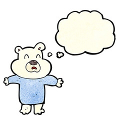 Cartoon unhappy polar bear with thought bubble vector