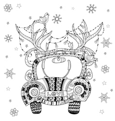 Hand drawn doodle outline holiday car vector
