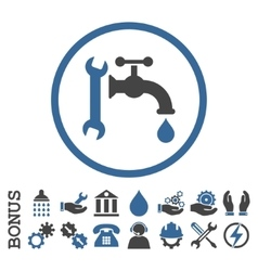 Plumbing flat rounded icon with bonus vector