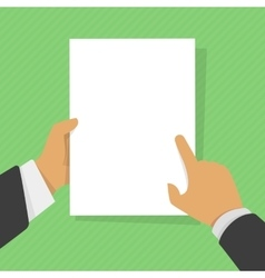 Blank sheet of paper in his hand vector image
