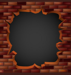 Breaking through a brick wall with a hole vector