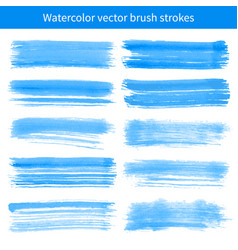 bright blue watercolor brush strokes vector image