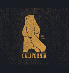 California t-shirt with grizzly bear vector