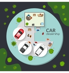 Car dealership top view flat poster vector