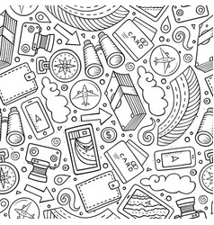 Cartoon traveling seamless pattern with lots of vector