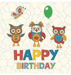 Cute Happy Birthday card with happy owls vector image vector image