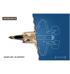 Drawing of military aircraft industrial blueprint vector