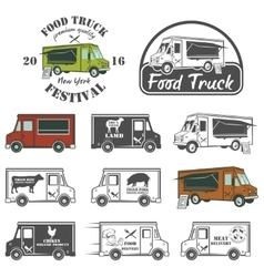 Food truck street festival emblems and logos set vector