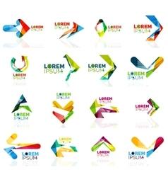 Geometric shapes arrow company logo set paper vector image