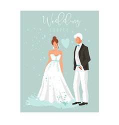 hand drawn abstract cartoon wedding couple vector image vector image