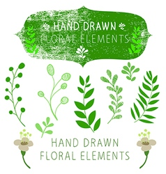 hand drawn floral elements vector image vector image