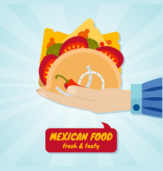 hand giving tacos mexican food concept vector image vector image