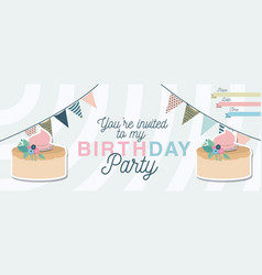 Happy birthday party invitation with floral vector