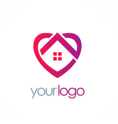 Home love heart logo vector