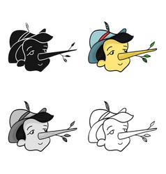 italian wooden boy icon in cartoon style isolated vector image