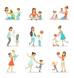 Loving mother playing and enjoying good quality vector