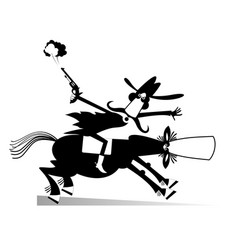 Man or cowboy rides on horse isolated vector