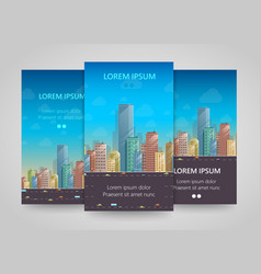 Modern vertical banners flat city building flyer vector