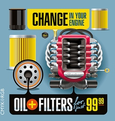 Oil and filters change blue vector