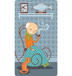 old fisherman vector image vector image