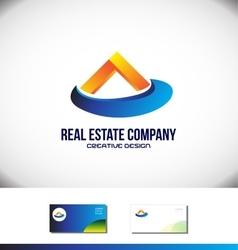 Orange blue real estate house logo vector