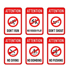 Pool signs set I vector image vector image