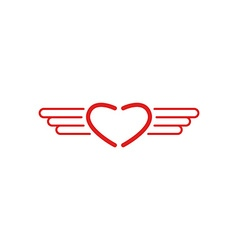 Red heart logo wings shape monogram style medical vector image